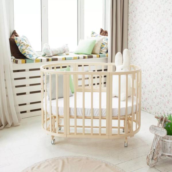 Овальная кроватка-трансформер для новорожденных